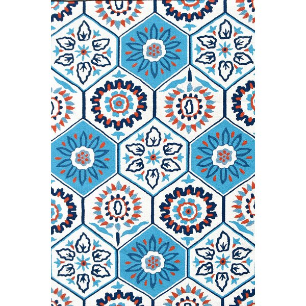 Handmade Tile White Indoor/Outdoor Area Rug by Park Avenue Rugs