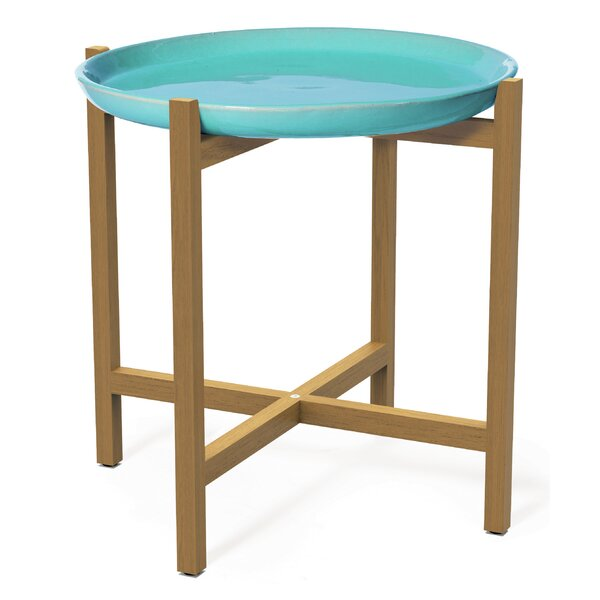 Ibis Ceramic And Teak Side Table by Seasonal Living