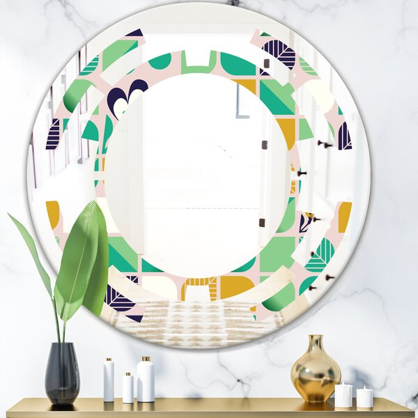 Space Geometric with Leaves and Flowers Cottage Americana Frameless Wall Mirror