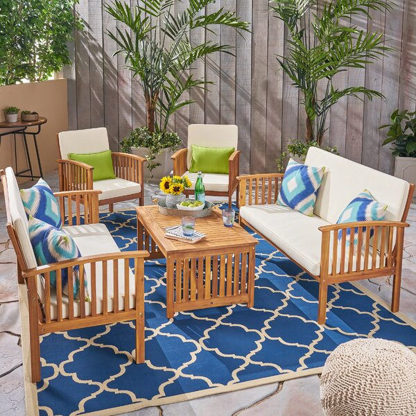 Safira Outdoor 5 Piece Sofa Seating Group with Cushions by Beachcrest Home