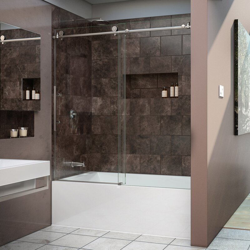 Enigma-X 62  x 59  Single Sliding Frameless Tub Door with ClearMax Technology : tub door - pezcame.com