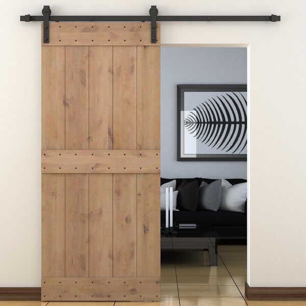 Bent Strap Sliding Door Track Hardware and Vertical Slat Primed Sliding Knotty Solid Wood Panelled Alder Slab Interior Barn Door by Calhome