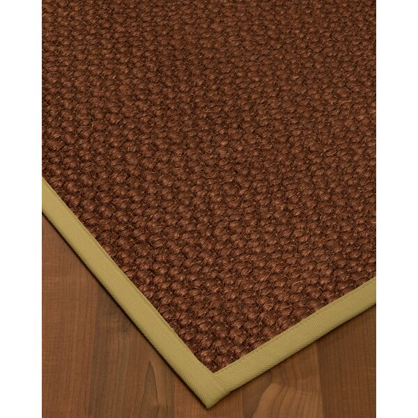 Kerrick Border Hand-Woven Brown/Sand Area Rug by Bayou Breeze