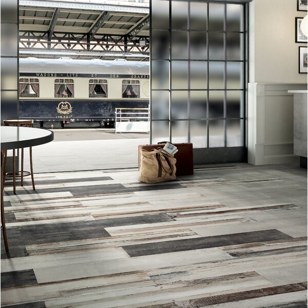 Blocks 18 x 36 Porcelain Wood Look Tile in Brown/White by Tesoro