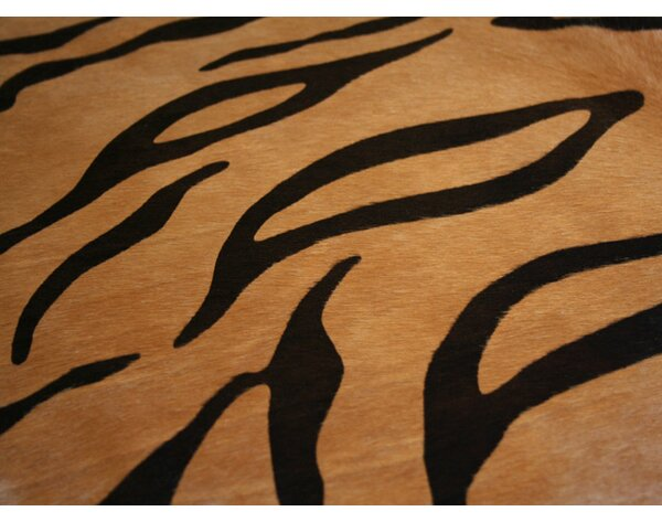 Stenciled Brazilian Cowhide Tiger Cowhide Area Rug by Pergamino