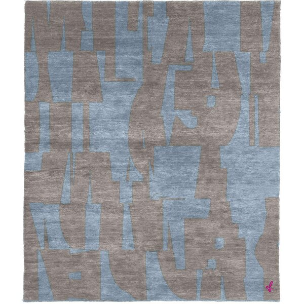 One-of-a-Kind Bettina Hand-Knotted Tibetan Blue/Gray 8' Square Wool Area Rug