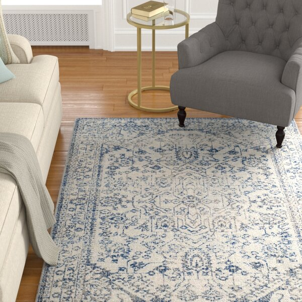 Harwood Power Loomed Cotton Silver/Blue Area Rug by Darby Home Co