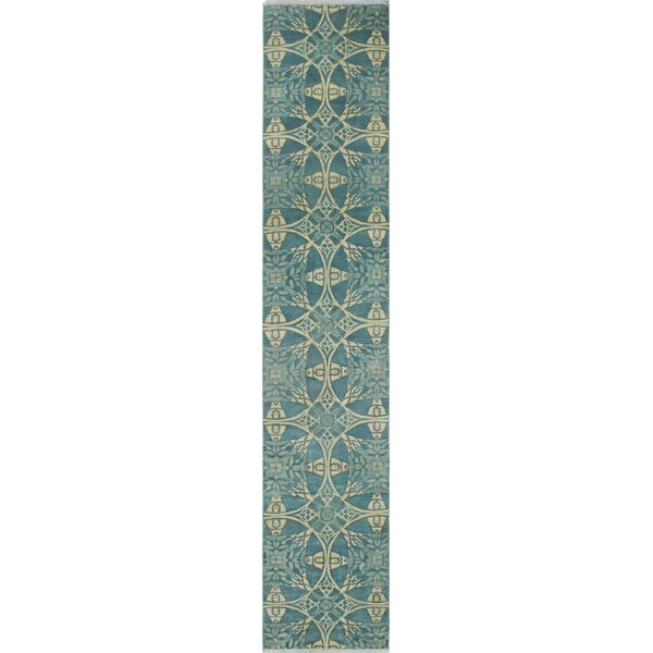 One-of-a-Kind Altom Hand-Knotted Wool/Silk Blue Area Rug by Isabelline