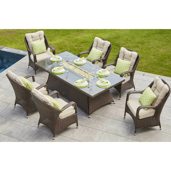 Lerner 7 Piece Dining Set with Firepit by Rosecliff Heights