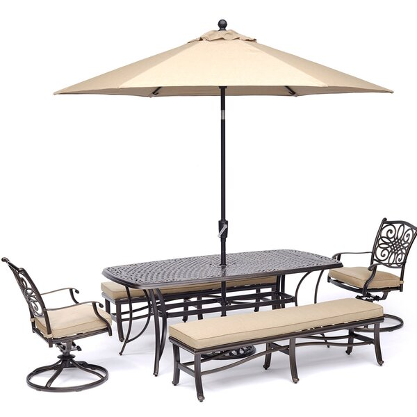 Botkin 5 Piece Dining Set with Umbrella by Three Posts