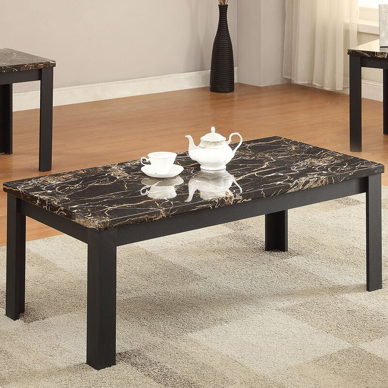 Acme Furniture Carly Faux Marble 3 Piece Coffee Table Set Reviews
