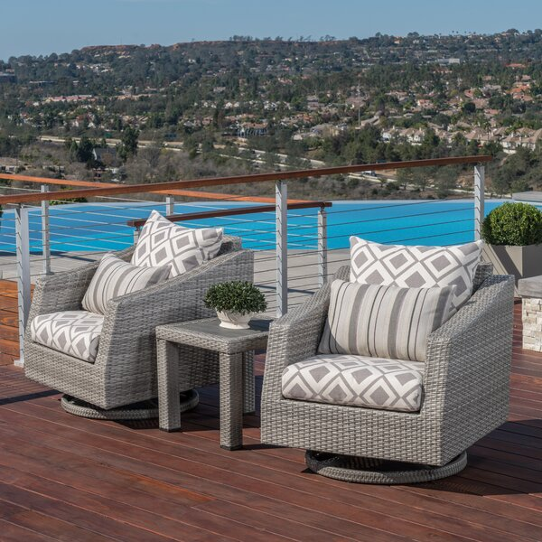 Johana 3 Piece Rattan Sunbrella Seating Group with Cushions by Wade Logan Wade Logan