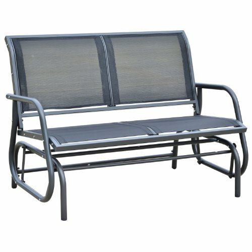 Callen 49 Outdoor Patio Swing Glider Bench Chair - Dark Gray by Red Barrel Studio