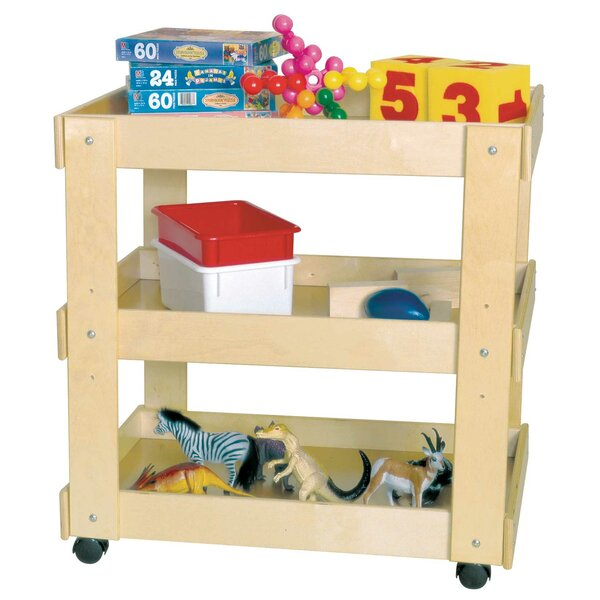 Double Sided 3 Compartment Teaching Cart with Casters by Wood Designs