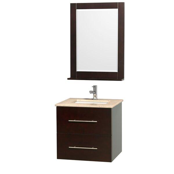 Centra 24 Single Espresso Bathroom Vanity Set with Mirror by Wyndham CollectionCentra 24 Single Espresso Bathroom Vanity Set with Mirror by Wyndham Collection
