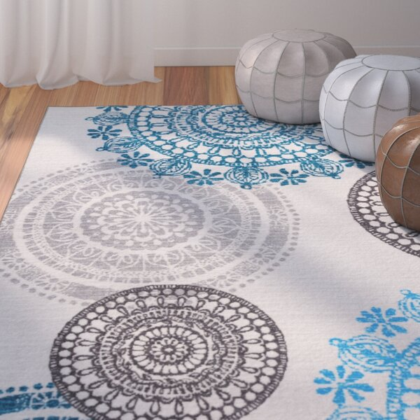 Ethel Modern Circles Non-Slip Cream Area Rug by Bungalow Rose