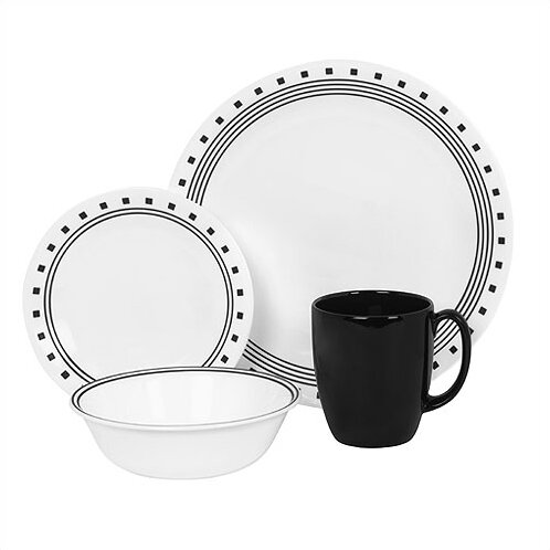 Livingware City Block 16 Piece Dinnerware Set, Service for 4 by Corelle