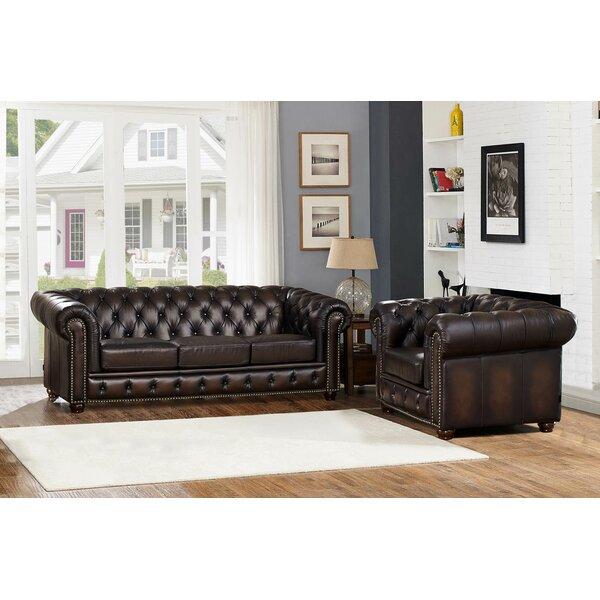 Katharine Leather 2 Piece Living Room Set by Fleur De Lis Living