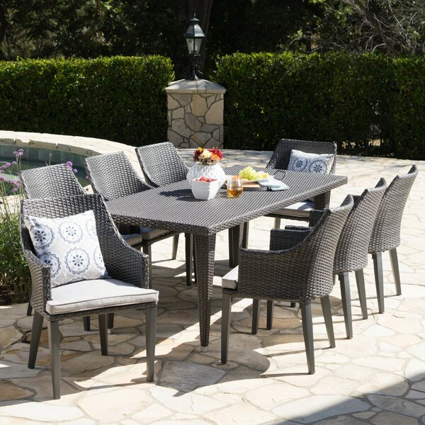 Schall 9 Piece Dining Set with Cushions by Bungalow Rose