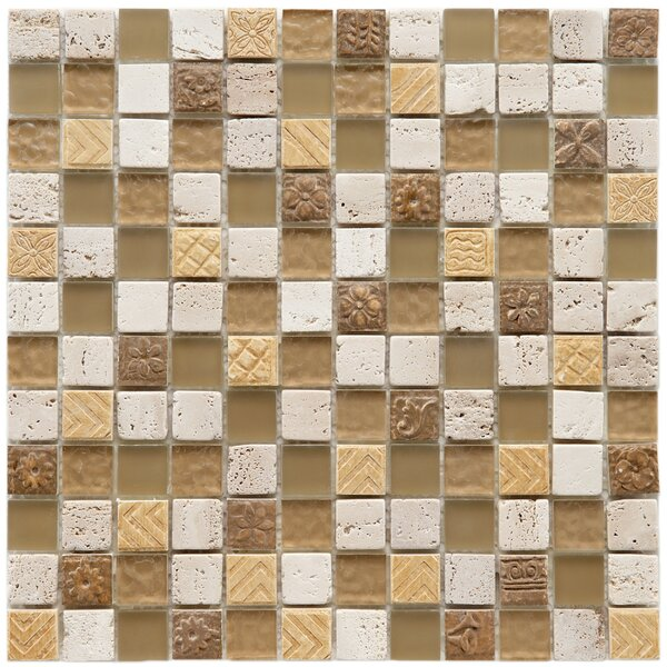 Kathedra 0.88 x 0.88 Mixed Material Mosaic tile in Brown/Beige by EliteTile