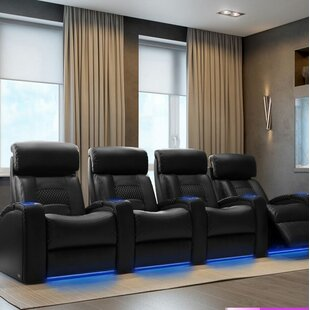 Diamond Stitch Home Theater Row Seating with Chaise Footrest Row of 4