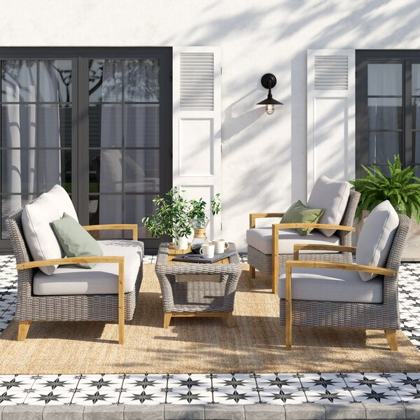 Dillard 4 Piece Teak Sofa Seating Group with Cushions by Laurel Foundry Modern Farmhouse