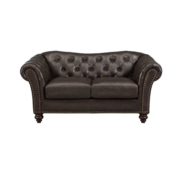 Cute Style Tayla Craft Genuine Leather Loveseat by Three Posts by Three Posts
