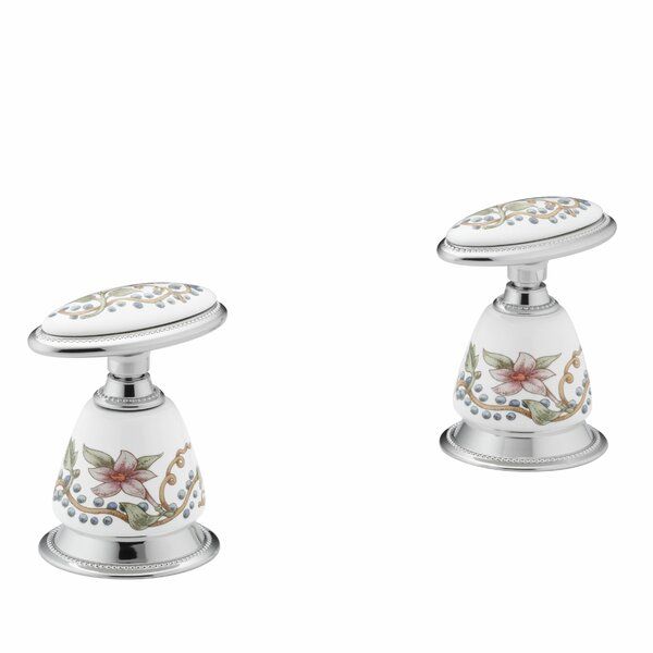 English Trellis Design On Antiqueceramic Handle Insets and Skirts for Bath Faucets by Kohler