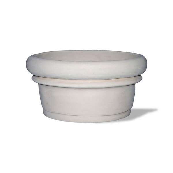 Rolled Rim Resin Stone Pot Planter by Amedeo Design