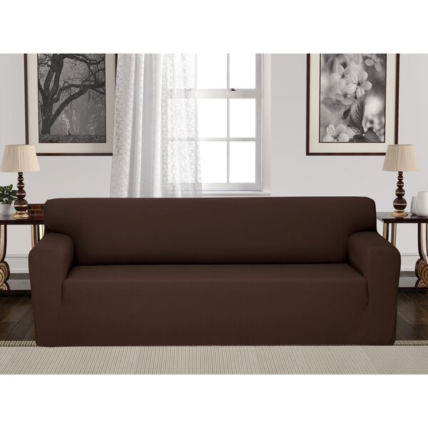 Anti-Slip Box Cushion Sofa Slipcover by Rebrilliant