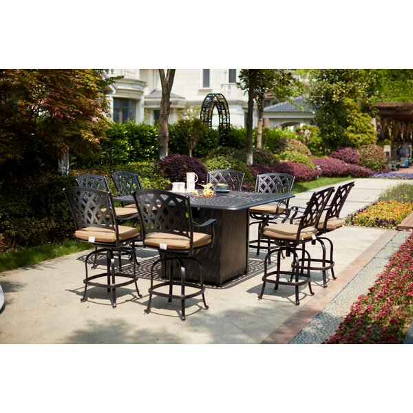 Milstead 9 Piece Bar Height Dining Set with Firepit