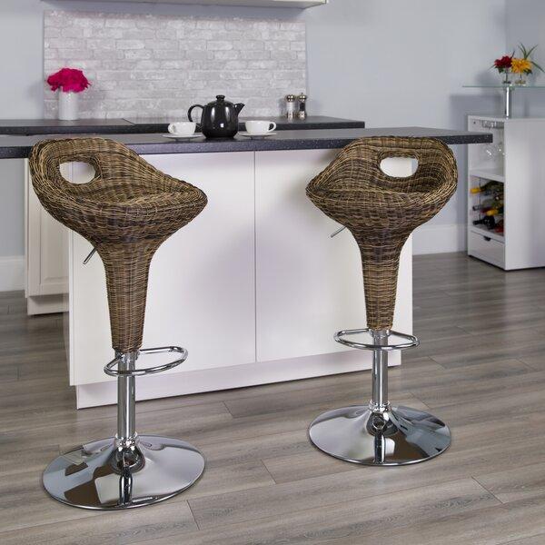 Triston Swivel Adjustable Height  Bar Stool by Highland Dunes Highland Dunes