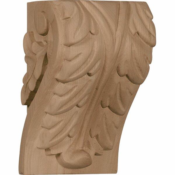 Acanthus 6H x 3 3/4W x 3 1/4D Large Leaf Block Corbel in Hard Maple by Ekena Millwork