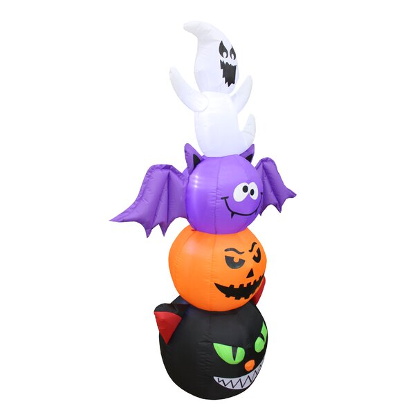 Halloween Stacked Figures Totem Pole Inflatable with Cat, Pumpkin, Bat and Ghost by The Holiday Aisle