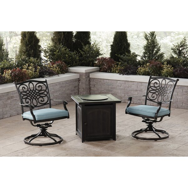 Carleton 3-Piece Fire Pit Chat Set in Blue with 2 Swivel Rockers and a 26-In. Square Fire Pit Side Table by Fleur De Lis Living