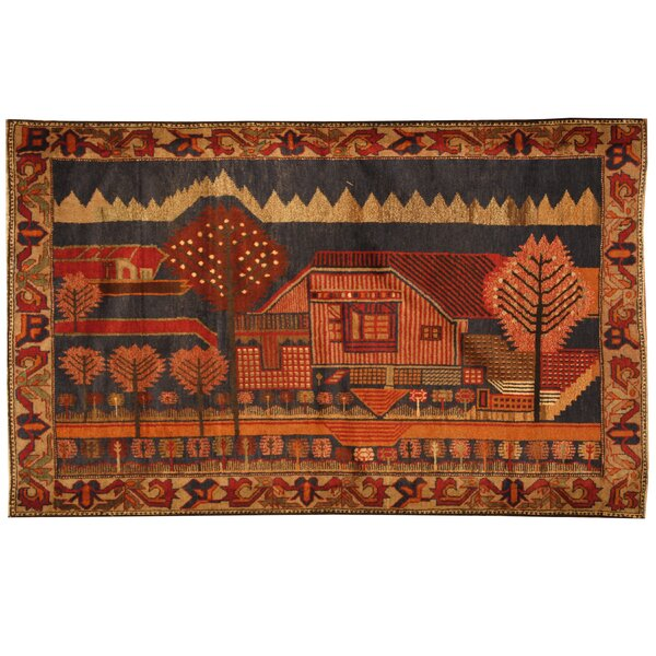 Prentice Hand-Knotted Navy/Beige Area Rug by Isabelline