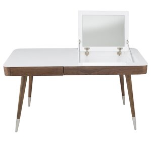 High Gloss Desk Veneer Solid Wood Legs Vanity Set with Mirror by Matrix