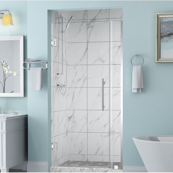 Belmore 73.25 x 72  Hinged Frameless Shower Door by Aston