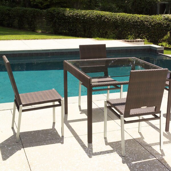 All-Weather Glass Dining Table by Woodard
