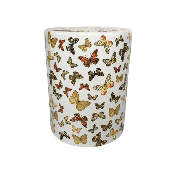 Helfrich Ceramic Butterfly Pattern Garden Stool by Alcott Hill