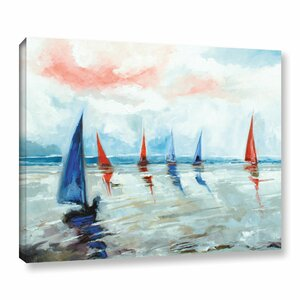 'Sailing Boats Regatta' Painting Print on Wrapped Canvas by Beachcrest Home