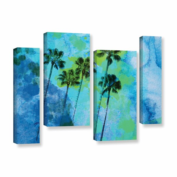 Palm Trees on The Beach 4 Piece Painting Print on Wrapped Canvas Set by Bay Isle Home