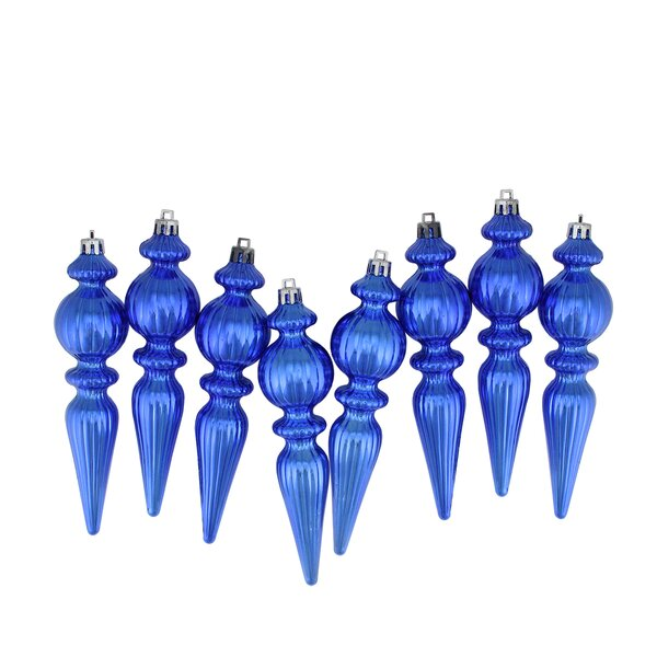 Ribbed Shatterproof Christmas Finial Ornament (Set of 8) by Mercer41