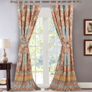 Tantonville Geometric Semi-Sheer Tab Top Curtain Panels (Set of 2)