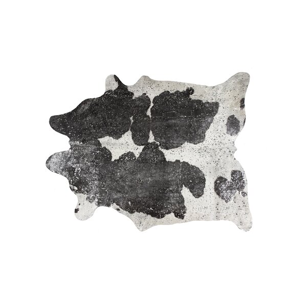 Houchin Cowhide Black/Silver Area Rug by Brayden Studio