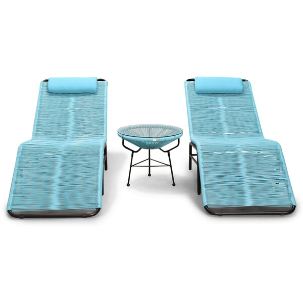 Ehrlich 3 Piece Chaise Lounge Set with Table by Ivy Bronx