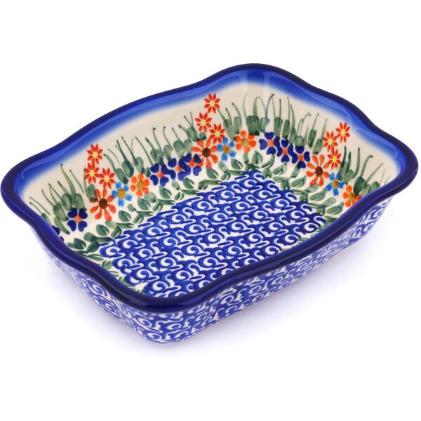 Blissful Daisy Rectangular Non-Stick Polish Pottery Baker by Polmedia