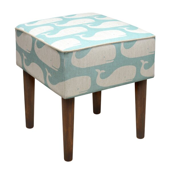 Whales Linen Upholstered Modern Vanity Stool by 123 Creations