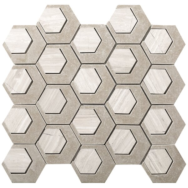Catalyst 3 x 3 Stone Mosaic Tile in Oxygen by Emser Tile