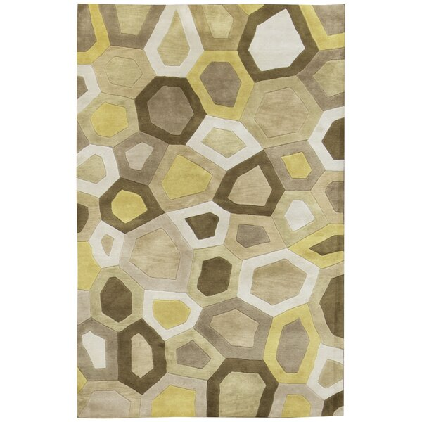 Indian Hand-Knotted Wool Yellow/Beige Area Rug by Bokara Rug Co., Inc.
